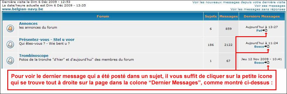 Comment voir les derniers messages postés sur le forum ? Fleche10