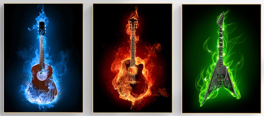 Chambre pré-ado rouge et grise Guitar10