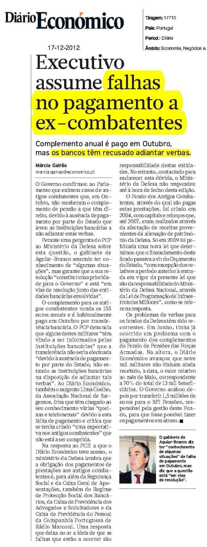 """«Executivo assume falhas no pagamento a ex-combatentes», in """"Diário Económico"""", de 17Dez2012 Pagame10"""