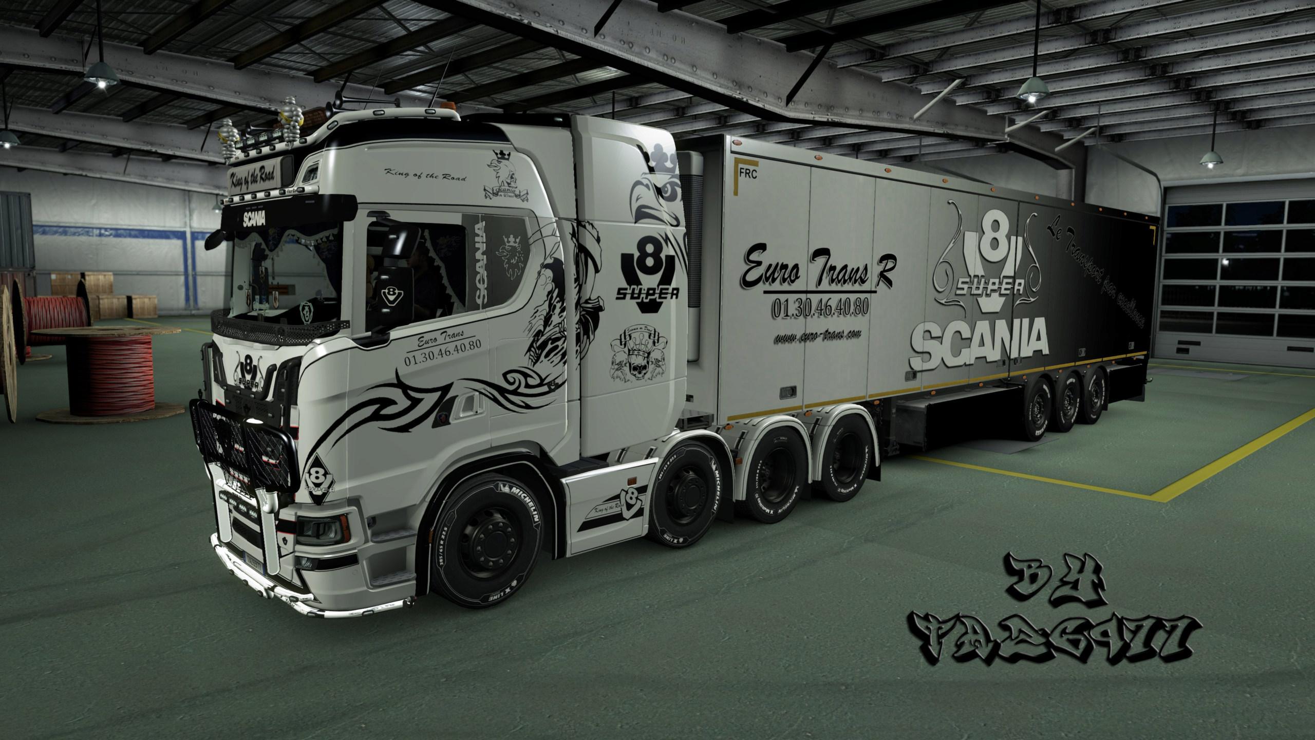 SKIN : Ensemble Euro Trans / Scania S & Remorque 20181014