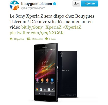 Le Sony Xperia Z sera disponible chez Bouygues Telecom  Sonyxp10