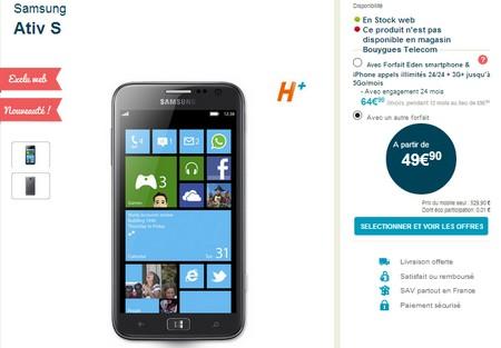 Le Samsung ATIV S est désormais disponible chez Bouygues Telecom Tarifa11