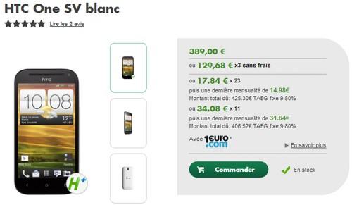 Le HTC One SV compatible 4G dispo chez Bouygues Telecom  et B&YOU Tarifh11