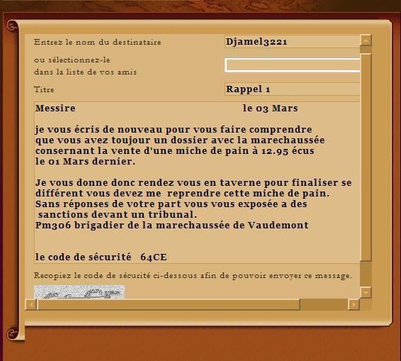 [EA] Affaire Djamel13221 - Escroquerie Rappel10