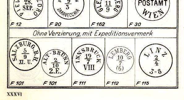 Faksimile Auflistung österr. (wiener) Poststempel  1851 - 1883 Maller11