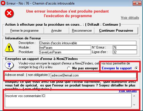 Fênetre d'erreur qui s'ouvre - Envoyer l'erreur et mettre commentaire Error210
