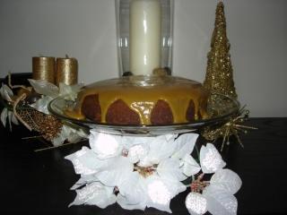 Gâteau à la compote de pommes, glacage au caramel Dsc02610