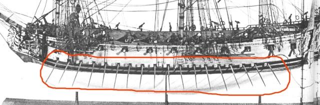 Manovra a remi di una fregata del 1720 Remi11