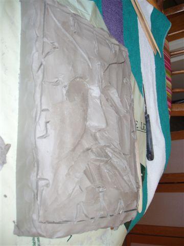 pas a pas mascaron terre modèle pour bois noyer P2140011