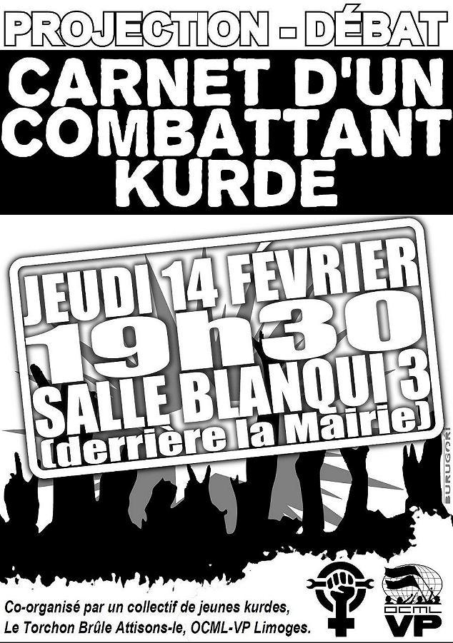 """projection débat 14 Février 19h30 salle blanqui: """"carnets d'un militant kurde"""" Recto_14"""