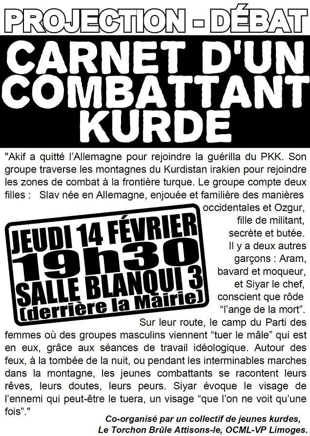 """projection débat 14 Février 19h30 salle blanqui: """"carnets d'un militant kurde"""" Verso_11"""