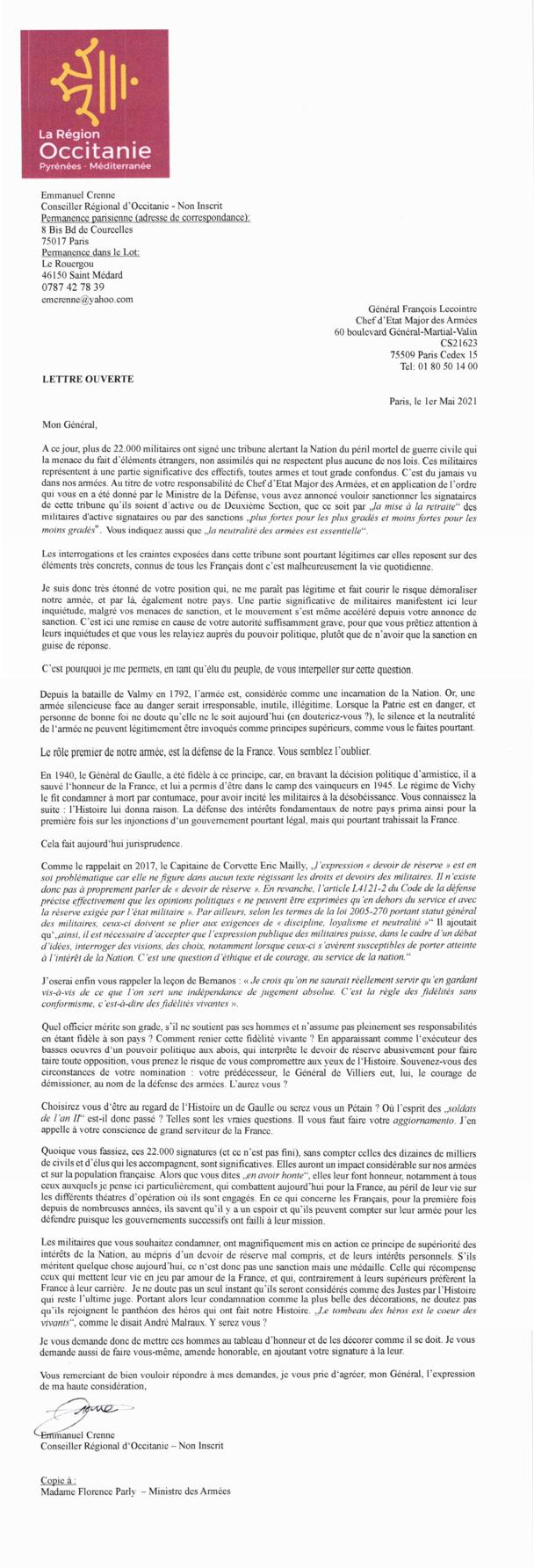 « Pour un retour de l'honneur de nos gouvernants » : 20 généraux appellent Macron à défendre le patriotisme - Page 3 110