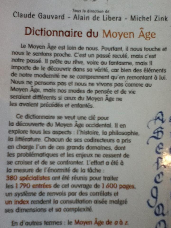 Dictionnaire du Moyen Age (Claude gauvard, Alain de Libera, Michel Zink) Img_0320