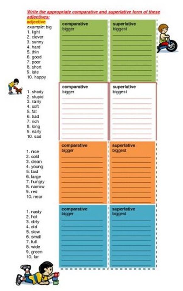Comparative and Superlatives for Beginners Worksh11