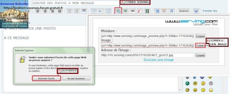 Ajoutez des photos à vos messages, Méthode pour utiliser Servimg Captur16