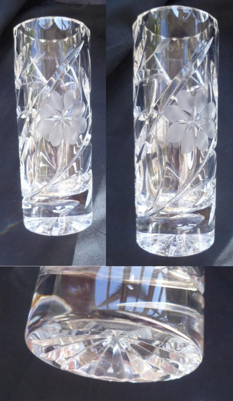 Heavy cut crystal vase Cut10