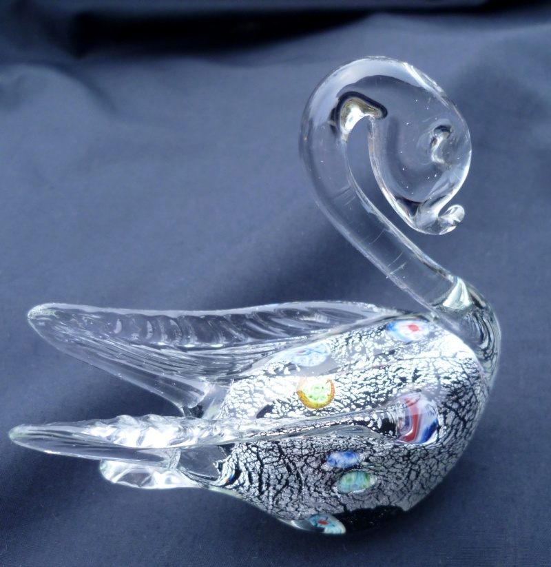 Murano swan with silver and paperweight cased centre P1020921