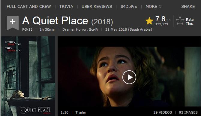 حصريا فيلم الدراما والرعب والخيال الاكثر من رائع A Quiet Place (2018) 720p BluRay مترجم بنسخة البلوري 2018-032