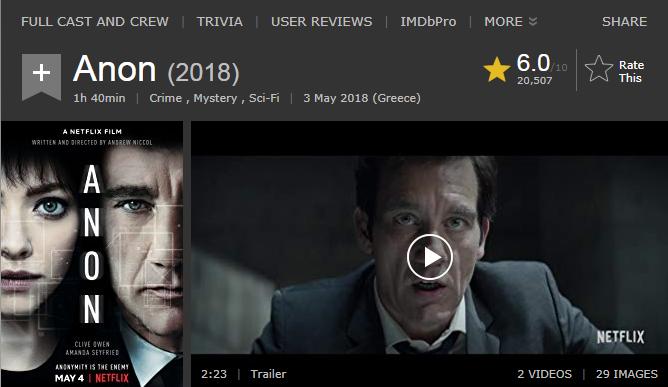 حصريا فيلم الجريمة والغموض والخيال الجميل Anon (2018) 720p BluRay مترجم بنسخة البلوري 2018-195