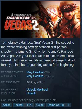 Tom Clancys Rainbow Six Vegas 2 Excellence Repack 1 68 GB