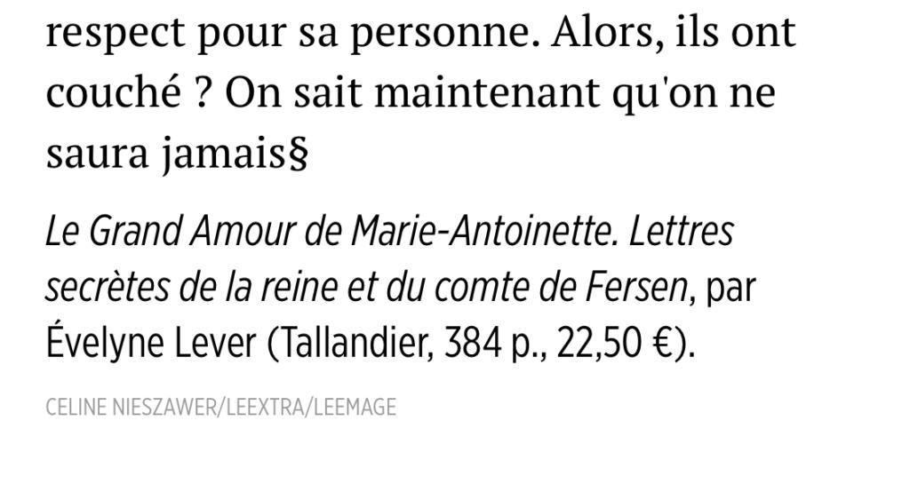 D'Evelyne Lever, Le grand amour de Marie-Antoinette, lettres secrètes de la reine et du comte de Fersen - Page 3 1ead4510