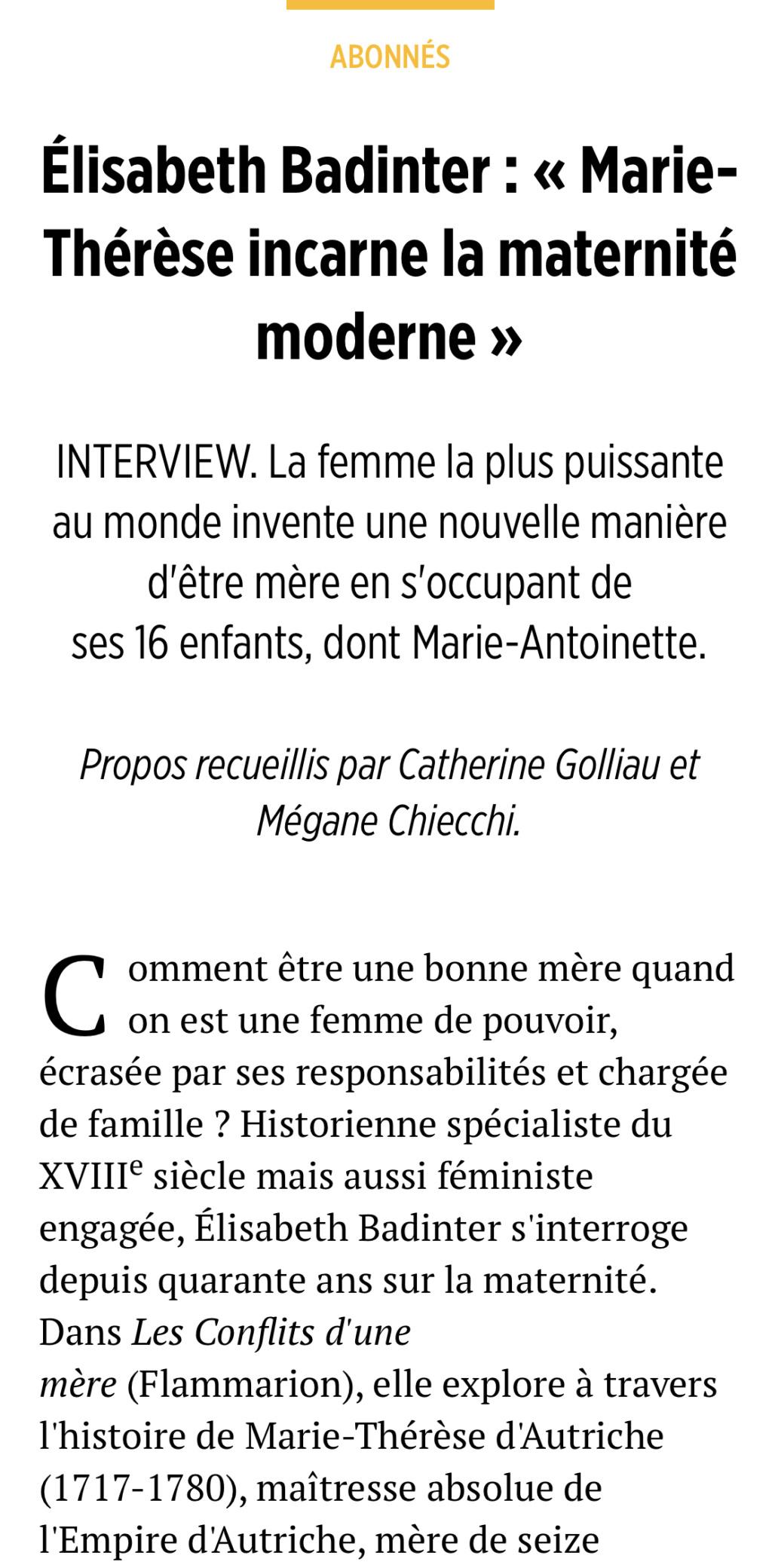 Marie-Thérèse d'Autriche : Le pouvoir au féminin & Les conflits d'une mère. De Elisabeth Badinter - Page 2 3dd34110