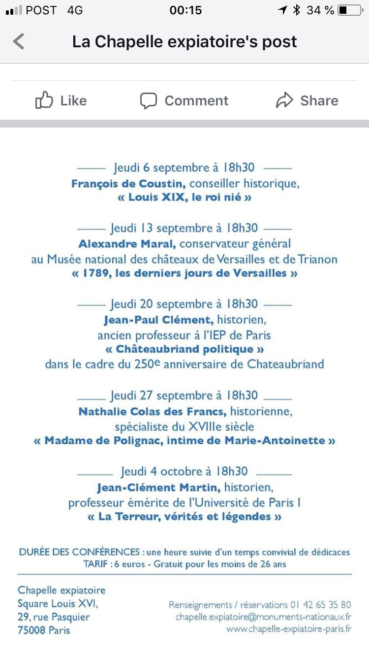 """""""Madame de Polignac, intime de Marie-Antoinette"""", conférence à la Chapelle expiatoire 5f372310"""