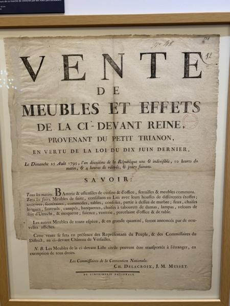 1793 : Vente aux enchères du mobilier de Versailles et du Petit Trianon 80897110