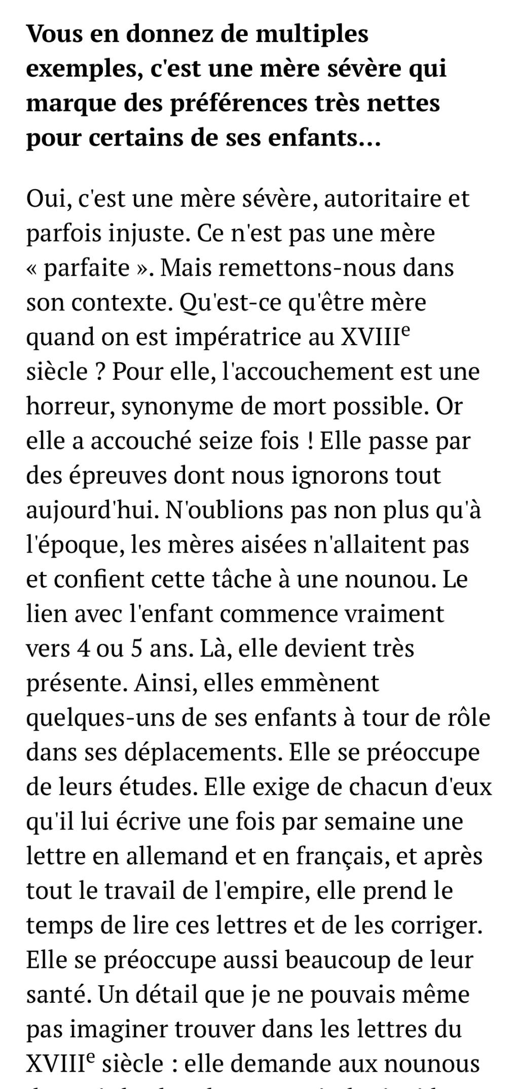 Marie-Thérèse d'Autriche : Le pouvoir au féminin & Les conflits d'une mère. De Elisabeth Badinter - Page 2 E69d3710