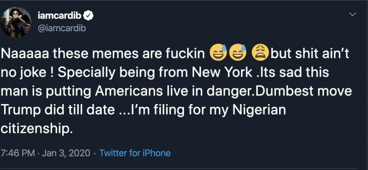 American Rapper, Cardi B Is Considering Being A Nigerian Citizen (Photo) 1-728x10