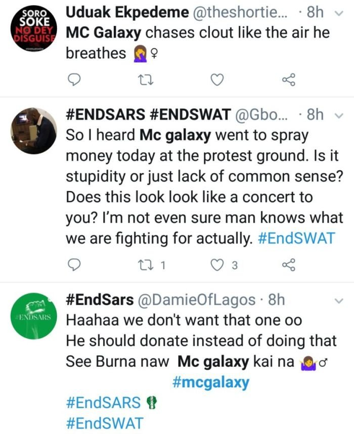 Lekki Protesters Name MC Galaxy A Compound Fool For Throwing N200 At #EndSARS Protest 2-511