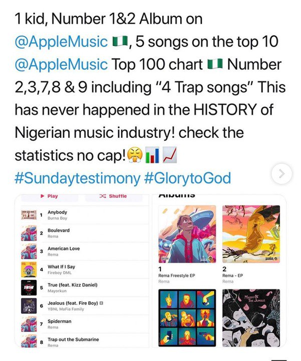Don Jazzy's Artiste, Rema, Sets History, Becomes The 1st Nigerian Artist To Debut 5 TOP Songs On Apple Music 2-8610