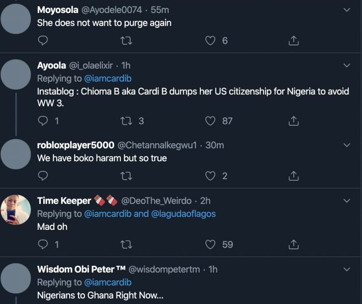 American Rapper, Cardi B Is Considering Being A Nigerian Citizen (Photo) 4-728x10