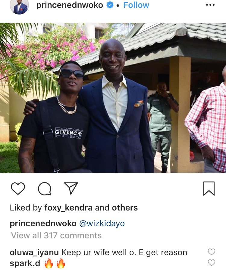 Keep your wife well, E get reason – Media user tells Ned Nwoko as he links up with Wizkid 4716c010