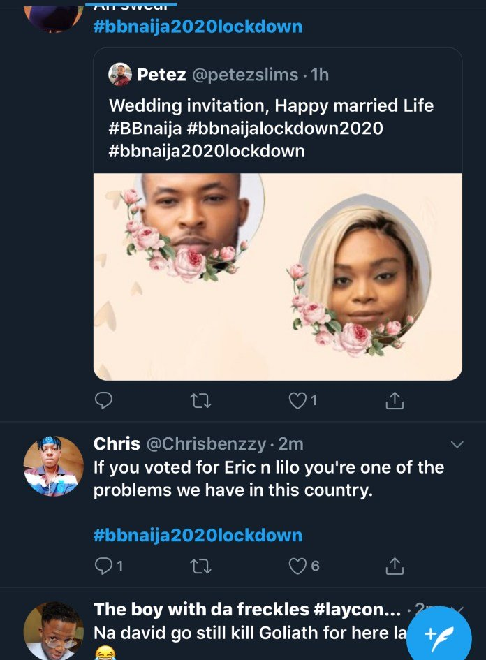 2020 BBNaija: Twitter Users React As BBNaija Housemates, Lilo, Eric Make Out In Bed Again 55899d10