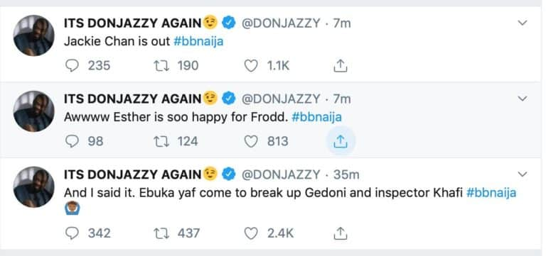 BBNaija 2019: Don Jazzy and other Nigerians reacts to Gedoni and Jackye's evictions 7-768x10