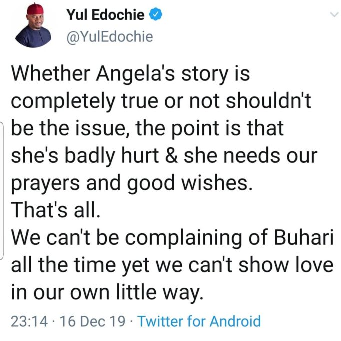 Whether Angela Okorie's story is true or not, she's hurt & needs well-wishing – Yul Edochie tells Nigerians 70430110