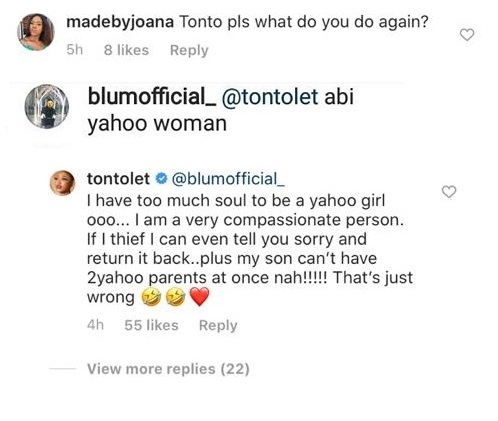 Tonto Dikeh replies follower who accused her of 'doing yahoo' 72250910