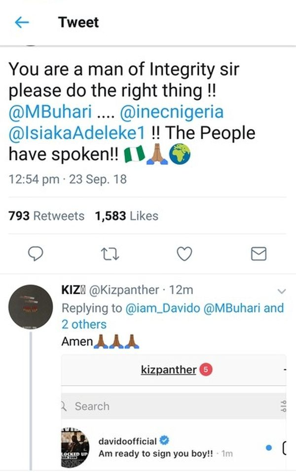 Davido To Sign An Artiste For Replying To His Tweet On Osun Election 78386510