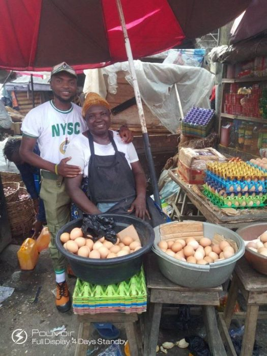 NYSC Corper Shows Off His Mother Who Sold Eggs To See Him Through University (Photos) 78799710