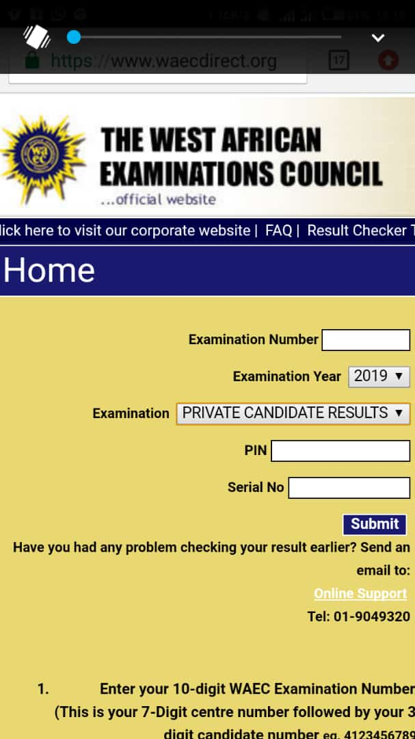 How To Check 2019 Waec Gce Jan/Feb Results For Private candidates