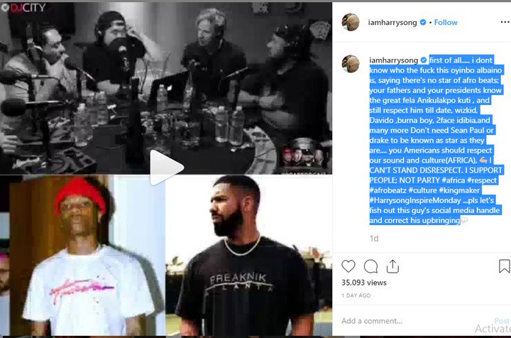 Harrysong Slams American DJs Who Said Wizkid Is Nobody Without Drake 97021610