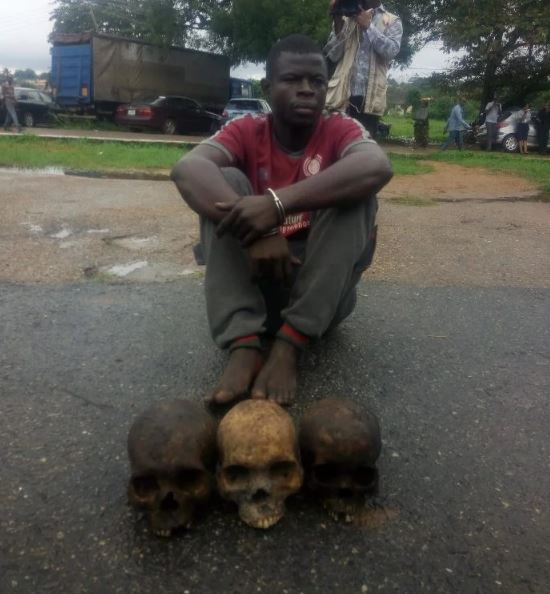 See The Man That Was Arrested With 3 Human Skulls In Ibadan (Graphic Photo) A-8210