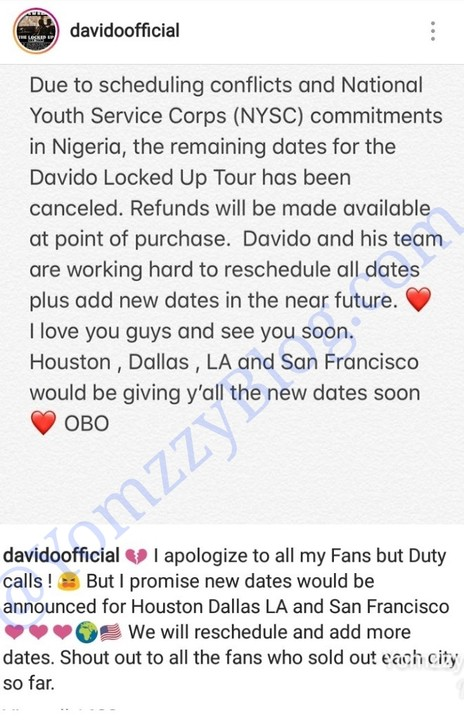 Davido Cancels US Tour For NYSC, Heads Back To Nigeria To Continue Service A1-411