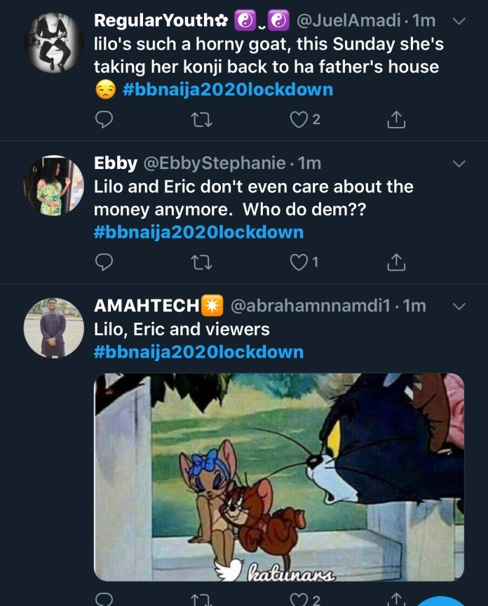 2020 BBNaija: Twitter Users React As BBNaija Housemates, Lilo, Eric Make Out In Bed Again A1d0fe10