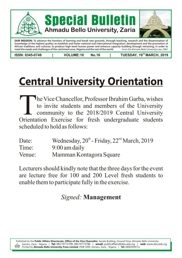ABU Orientation Programme Schedule for 2018/2019 Newly Admitted Students Abu-ce10