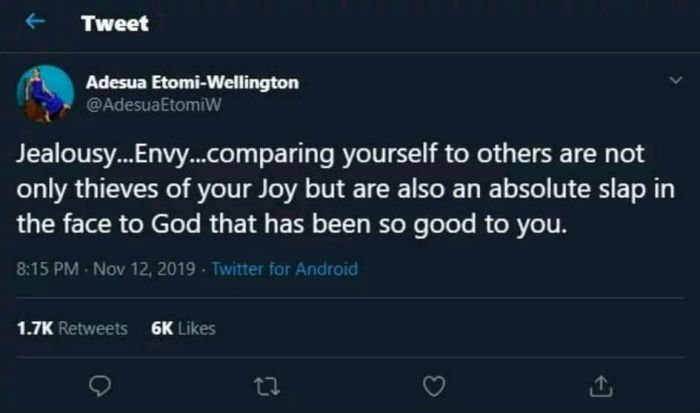 """""""Comparing Yourself To Others Is A Slap In The Face Of God""""- Adesua Etomi Adesua14"""