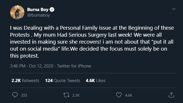 """""""My Mum Had Serious Surgery"""" Burna Boy Gives Reason For Not Protesting – Is This Acceptable? Annota30"""