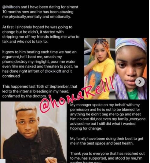 Lil Frosh's Girlfriend Breaks Silence After She Was Beaten Beyond Recognition Bfb10