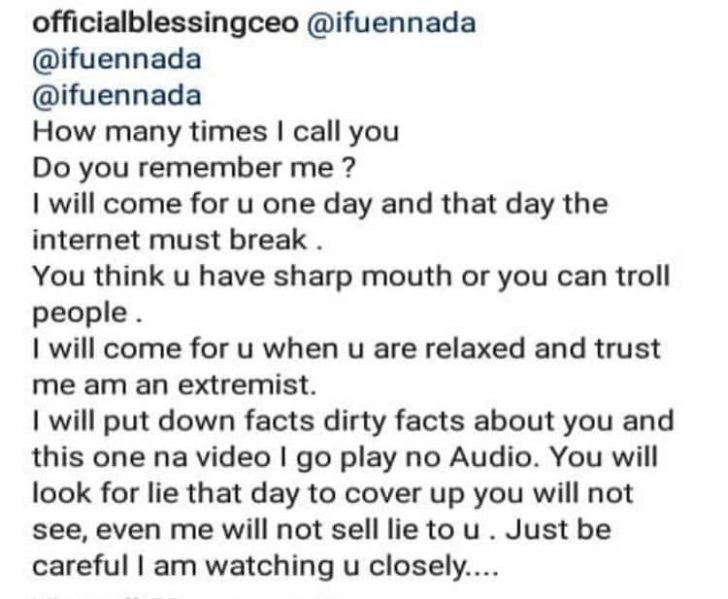 I Will Come For You One Day And I Will Put Out Dirty Facts About You – Okoro Blessing Tells Ifu Ennada As They Clash On Instagram Bless-11